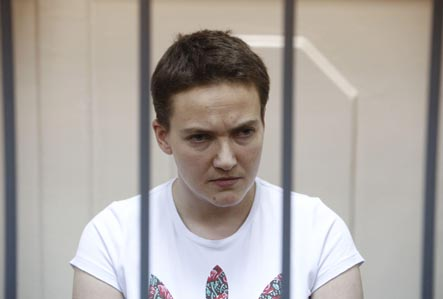 Ukrainian army pilot Nadezhda (Nadia) Savchenko attends a court hearing in Moscow